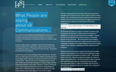 Screenshot of Testimonials Page 48communications.com - Testimonials » 48 Communications 48 Communications - captured Oct. 7, 2014