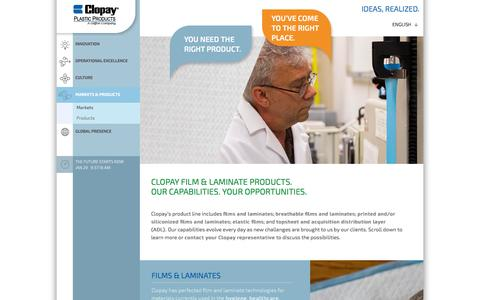 Screenshot of Products Page clopayplastics.com - Products | Breathable, Printed, Embossed, Perforated & Elastic Films | Clopay Plastics - captured Jan. 29, 2016