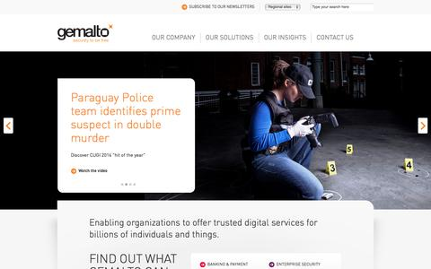 Screenshot of Home Page gemalto.com - Gemalto  World leader in Digital Security - captured Nov. 23, 2017