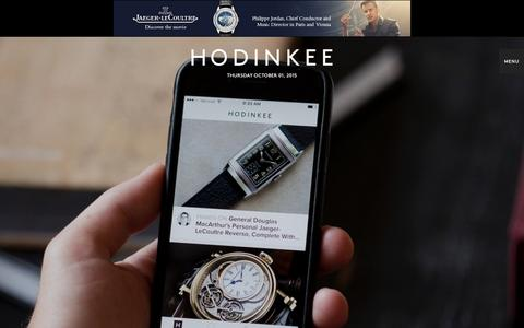 Screenshot of Home Page hodinkee.com - Wristwatch News, Reviews, & Original Stories — HODINKEE - captured Oct. 1, 2015
