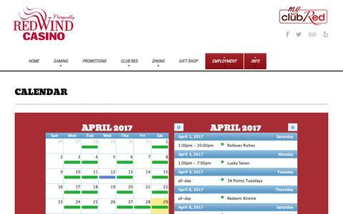 Screenshot of redwindcasino.com - Calendar | Nisqually Red Wind Casino - captured April 30, 2017