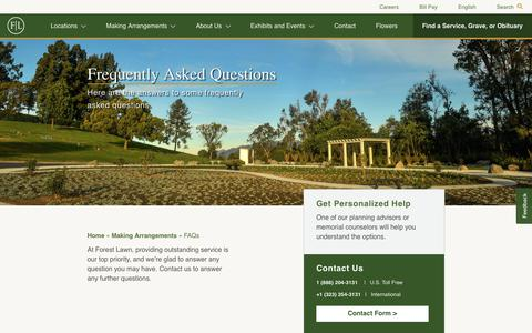 Screenshot of FAQ Page forestlawn.com - FAQs - Forest Lawn - captured Sept. 23, 2018