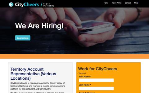 Screenshot of Jobs Page citycheers.com - Careers at CityCheers - captured July 13, 2016