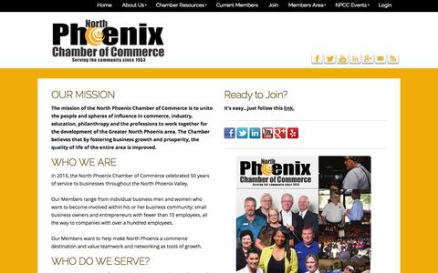 Screenshot of About Page northphoenixchamber.com - North Phoenix Chamber of Commerce - About - captured Oct. 26, 2014
