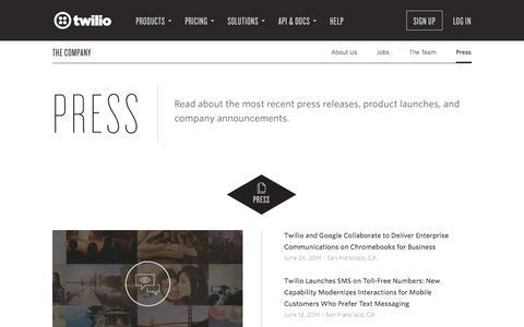 Screenshot of Press Page twilio.com - Twilio - Latest News & Press Coverage - captured Oct. 28, 2014