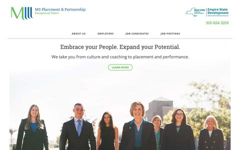 Screenshot of Home Page m3placement.com - M3 Placement & Partnership - Staffing & Recruiting Firm - captured Oct. 1, 2018