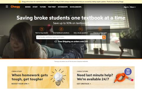 Screenshot of Home Page chegg.com - Chegg - Save up to 90% on Textbooks | Don't Pay Full Price for Textbooks - captured May 15, 2018