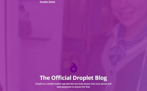 Screenshot of Blog dropletpay.com - The Official Droplet Blog - captured Sept. 15, 2014