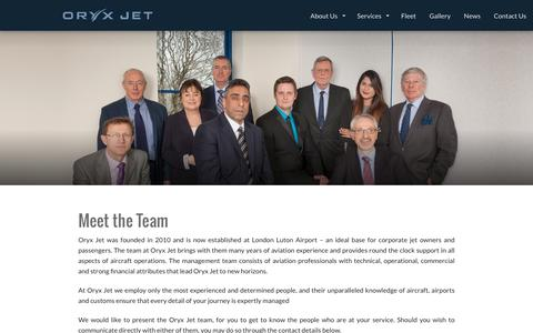 Screenshot of Team Page oryxjet.com - Meet the Team | Oryx Jet - captured Dec. 21, 2016