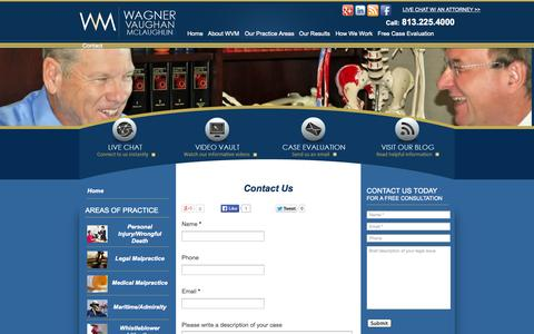 Screenshot of Contact Page wagnerlaw.com - Medical Malpractice Attorney Tampa | Wagner Vaughan & McLaughlin - captured Oct. 7, 2014