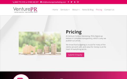 Screenshot of Pricing Page ventureprmarketing.com - Pricing - Venture PR, Marketing & Design - captured Oct. 20, 2018