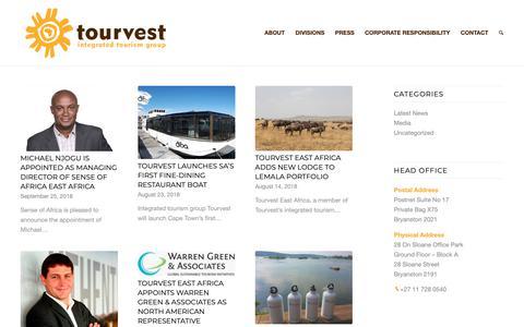 Screenshot of Press Page tourvest.co.za - Press - Tourvest - captured Oct. 20, 2018