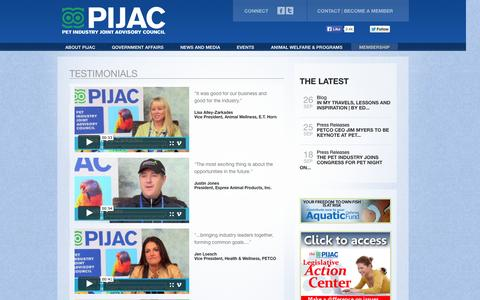 Screenshot of Testimonials Page pijac.org - Testimonials | PIJAC - captured Oct. 2, 2014