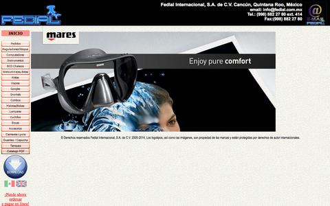 Screenshot of Home Page fedial.com.mx - Fedial International Scuba, Snorkel, Cave Diving Equipment, Wholesale,  Retail, Delivery, Riviera Maya, Mexico en Español - captured Oct. 5, 2014