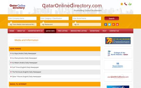 Screenshot of Press Page qataronlinedirectory.com - Media and Information | Qatar Online Directory. - captured Jan. 15, 2016