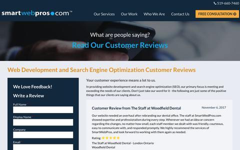Screenshot of Testimonials Page smartwebpros.com - Reviews   Smart Web Pros - captured Nov. 14, 2017