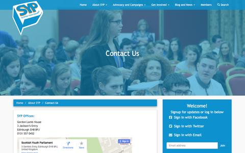 Screenshot of Contact Page syp.org.uk - Contact Us - Scottish Youth Parliament - captured Feb. 13, 2016