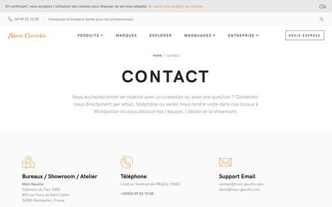 Screenshot of Contact Page main-gauche.com - contact - captured Nov. 23, 2018
