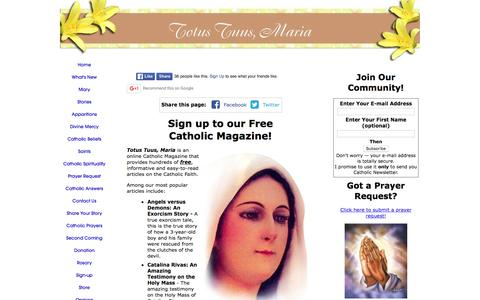Screenshot of Signup Page all-about-the-virgin-mary.com - Catholic Magazine - captured May 23, 2016