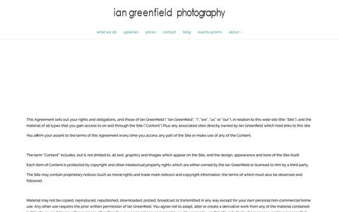 Screenshot of Terms Page iangreenfield.com - terms - Wedding Photographers Doncaster - captured Oct. 6, 2014