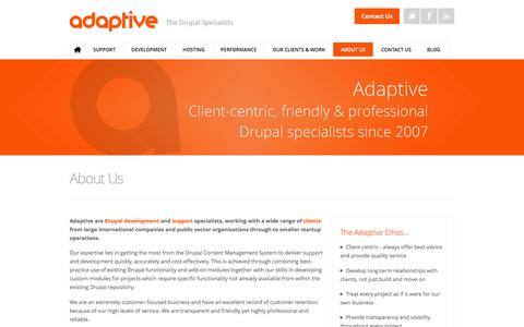 Screenshot of About Page adaptive.co.uk - About Us | Adaptive - The Drupal Specialists - captured Feb. 5, 2016