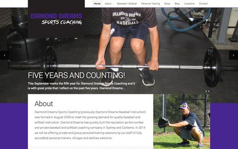 Screenshot of Home Page diamonddreams.com.au - Diamond Dreams Sports Coaching | Learn to Play the Right Way - captured Oct. 5, 2014
