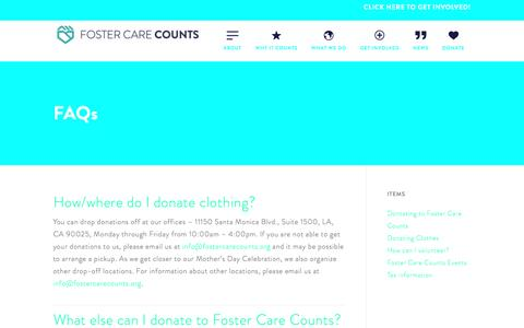 Screenshot of FAQ Page fostercarecounts.org - Foster Care Counts | FAQs - captured May 29, 2016