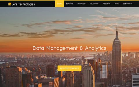Screenshot of Home Page leratechnologies.com - Data Management & Analytics | LeraTechnologies.com - captured July 18, 2018