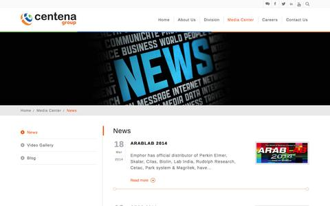 Screenshot of Press Page centena.biz - News - captured Sept. 19, 2014