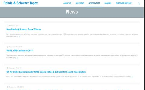 Screenshot of Press Page topex.ro - News - Rohde & Schwarz Topex - Mission Critical and Enterprise Solutions - captured Oct. 27, 2017
