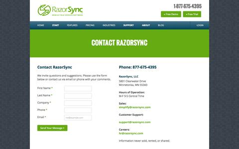 Contact RazorSync, LLC | 877.675.4395 | Minneapolis, MN Software Publisher