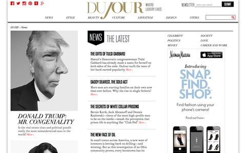 Screenshot of Press Page dujour.com - News: Celebrity Interviews, and Trends. DuJour - captured Oct. 30, 2014