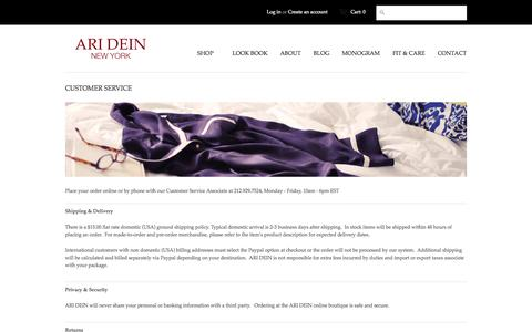 Screenshot of Support Page aridein.com - CUSTOMER SERVICE - ARI DEIN - captured Oct. 4, 2014