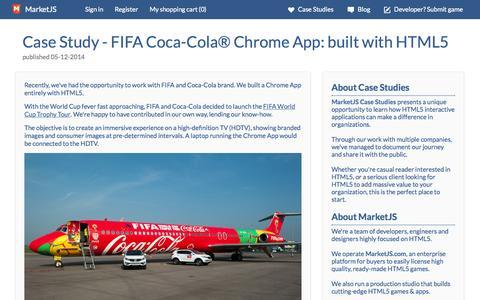 Screenshot of Case Studies Page marketjs.com - MarketJS Case Study - FIFA Coca-Cola® Chrome App: built with HTML5 - captured Sept. 22, 2014