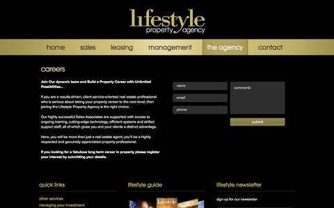 Screenshot of Jobs Page lifestylepropertyagency.com - real estate jobs Sydney, sales jobs real estate, careers real estate - lifestyle property agency - captured Sept. 30, 2014