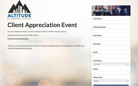 Screenshot of Home Page altitudevip.com - Seminar Registration - captured Nov. 12, 2018