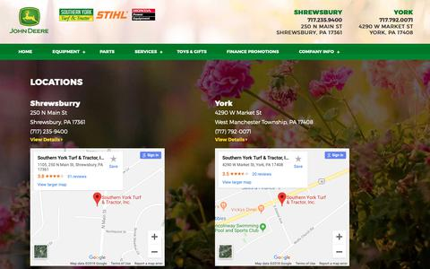 Screenshot of Locations Page sytt.com - Locations | Southern York Turf & Tractor | Shrewsbury, PA | We sell new and pre-owned equipment, parts, and have many services to meet your needs. - captured Dec. 4, 2018
