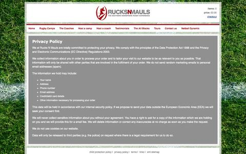 Screenshot of Privacy Page rucksnmauls.co.uk - Privacy Policy - captured Oct. 7, 2014
