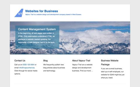 Screenshot of Home Page Menu Page vapourtrail.biz - Small Business Web Design by Vapour Trail - captured Oct. 7, 2014