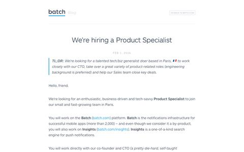 Screenshot of Jobs Page batch.com - We're hiring a Product Specialist - captured March 1, 2016