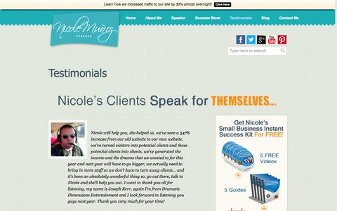 Screenshot of Testimonials Page nicolemunoz.com - Nicole Munoz | 36+ Live Events attended by more than 41,000 people - captured Nov. 3, 2014