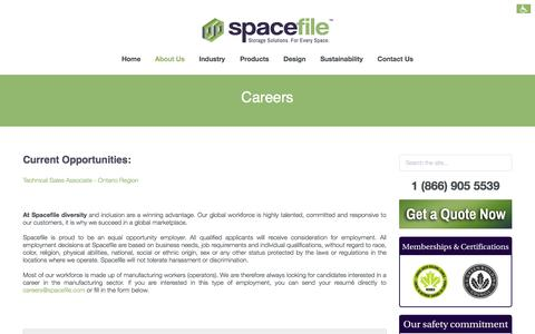 Screenshot of Jobs Page spacefile.com - Careers in Spacefile - captured Oct. 7, 2014