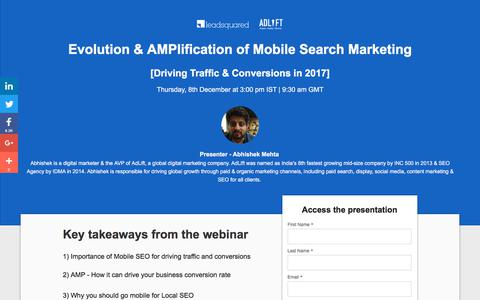 Screenshot of Landing Page leadsquared.com - [Webinar Deck] Evolution and Amplification of Mobile Search Marketing - captured March 5, 2018