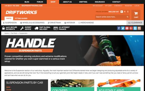 Screenshot of driftworks.com - We have huge stocks of coilovers and adjustable suspension arms - captured March 25, 2017