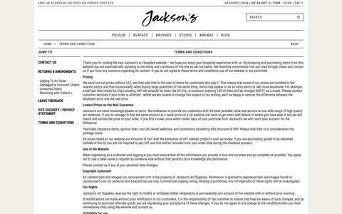 Screenshot of Terms Page jacksonsart.com - Terms and Conditions | Jackson's Art Supplies - captured Nov. 26, 2016