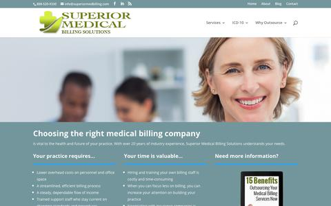 Screenshot of Home Page superiormedicalbillingsolutions.com - Medical Billing Service Lake Elsinore CA Focus on Patients not Paperwork - captured Sept. 21, 2018