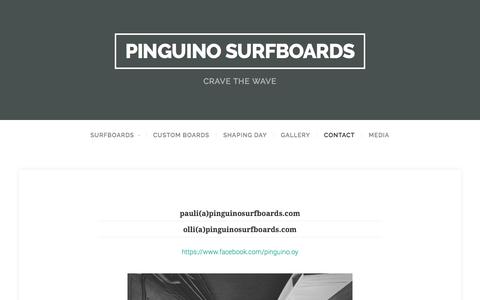 Screenshot of Contact Page pinguinosurfboards.com - Contact – Pinguino Surfboards - captured July 7, 2016