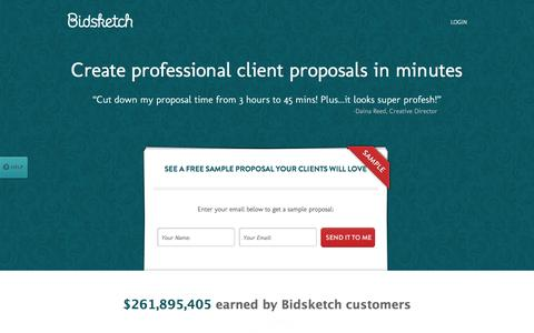 Screenshot of Home Page bidsketch.com - Bidsketch: Proposal Software & Proposal Templates - captured Sept. 18, 2014