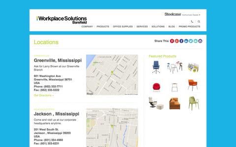 Screenshot of Locations Page barefieldandcompany.com - Locations Archive - Barefield Workplace Solutions | Mississippi, Jackson, Vicksburg, Greenville, New Albany, Natchez - captured Feb. 7, 2016