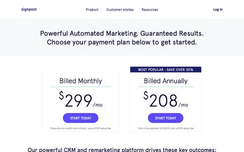 Screenshot of Pricing Page signpost.com - CRM Software | Marketing Automation | Signpost - captured Jan. 10, 2017